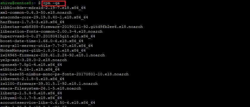 بررسی لیست پکیج های نصب شده در CentOS 8 / RHEL 8-rpm