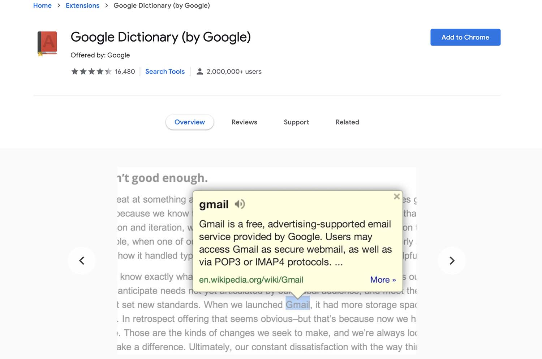 افزونه گوگل دیکشنری اج کرومیوم